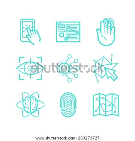 Vector set of icons in trendy linear style - user experience and usability - future technologies apps and interfaces signs and symbols - stock vector