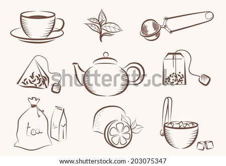vector set of icons on a tea theme - stock vector