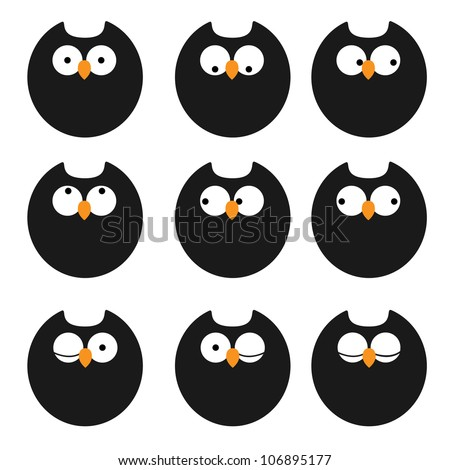 Vector set of icons owls - stock vector