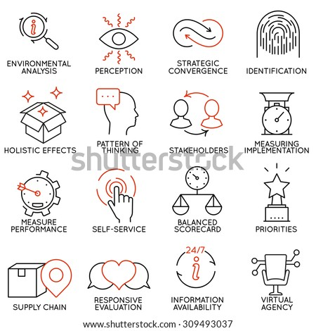 Vector set of 16 icons related to business management, strategy, career progress and business process. Mono line pictograms and infographics design elements - part 5 - stock vector