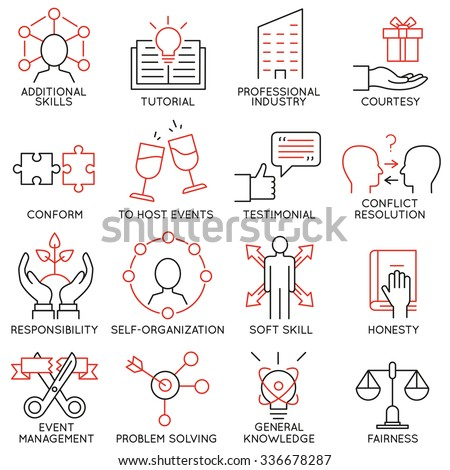 Vector set of 16 icons related to business management, strategy, career progress and business process. Mono line pictograms and infographics design elements - part 28 - stock vector