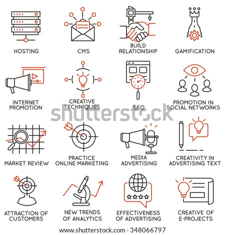 Vector set of 16 icons related to business management, strategy, career progress and business process. Mono line pictograms and infographics design elements - part 32 - stock vector