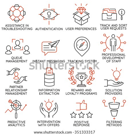 Vector set of 16 icons related to business management, strategy, career progress and business process. Mono line pictograms and infographics design elements - part 35 - stock vector