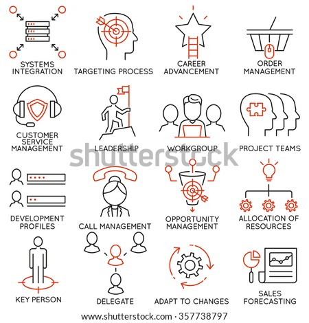 Vector set of 16 icons related to business management, strategy, career progress and business process. Mono line pictograms and infographics design elements - part 36 - stock vector