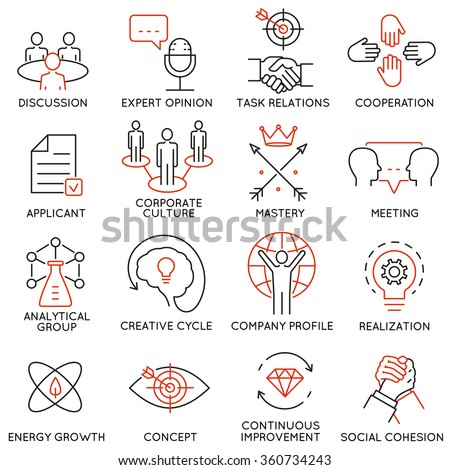 Vector set of 16 icons related to business management, strategy, career progress and business process. Mono line pictograms and infographics design elements - part 38 - stock vector