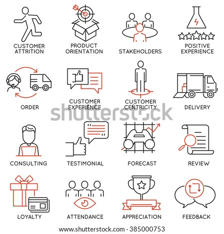 Vector set of 16 icons related to business management, strategy, career progress and business process. Mono line pictograms and infographics design elements - part 44 - stock vector