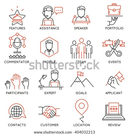 Vector set of 16 icons related to business management, strategy, career progress and business process. Mono line pictograms and infographics design elements - part 50 - stock vector