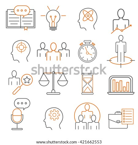 Vector set of 16 icons related to business management, strategy, career progress and business process. Mono line pictograms and infographics design elements - stock vector