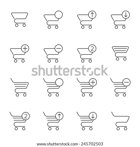 Vector set of icons shopping cart. Online purchase, add buy order. Outline - stock vector