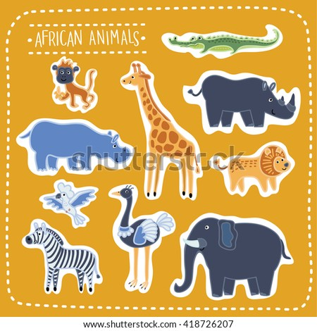 Vector set of illustration of cute funny african animals, beasts of savanna - stock vector