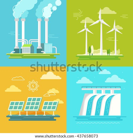Vector set of illustrations in simple flat style - alternative and renewable energy - wind-powered electrical generators, hydroelectric station, geothermal power station ans solar panels - stock vector