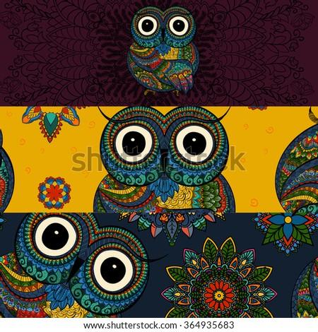 Vector set of  illustrations of ornamental owl. Bird illustrated in tribal. Good for social media banners - stock vector
