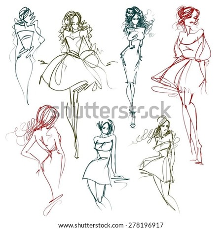 Vector set of images with beautiful girls - stock vector