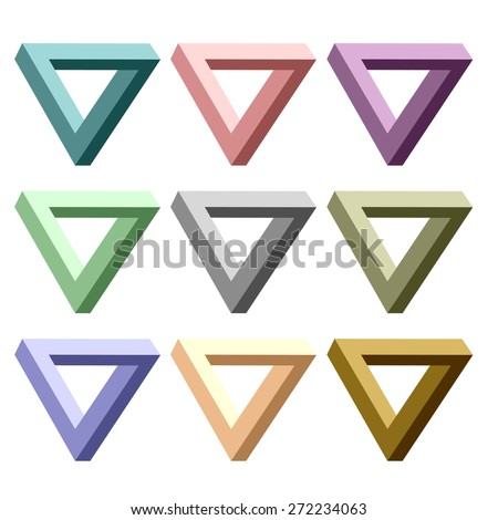 Vector Set of Incredibly Colorful Triangles Isolated on White Background. - stock vector