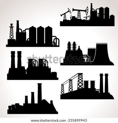 Vector Set of Industrial Buildings - stock vector