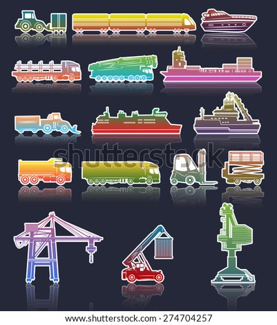 Vector set of industrial Transport icons - stock vector