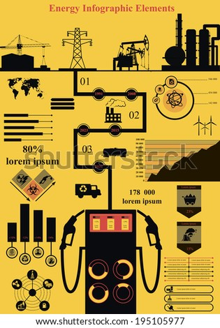 Vector set of infographic elements, including 25 icons, world map, 5 types of diagram concerning to power and energy themes - stock vector