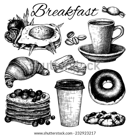 Vector set of ink hand drawn breakfast  food illustration isolated on white for restaurant or cafe menu. - stock vector