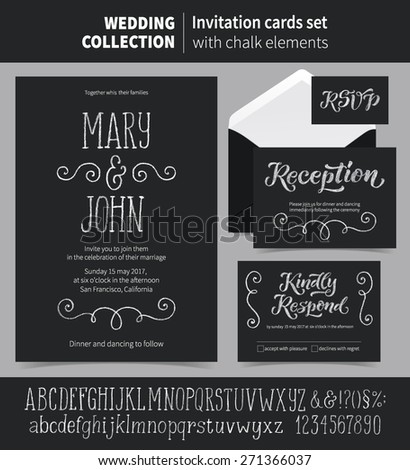 Vector set of invitation cards with chalk ornamental elements. Wedding collection of template: Save the Date, Reception, Kindly Respond, RSVP, cards and labels. Chalk letters and signs included. - stock vector