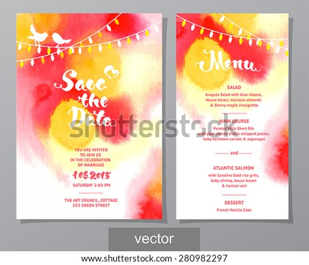 Vector set of invitation cards with watercolor elements, birds, lamps, lights. Watercolor wedding collection. Design invitation templates. Save the date calligraphy. Vector illustration EPS10. - stock vector