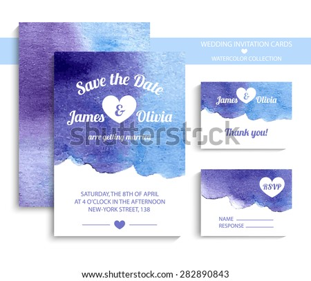 Vector set of invitation cards with watercolor elements in vintage light blue and violet. Watercolor wedding collection. Invitation templates. Vector illustration EPS10. - stock vector