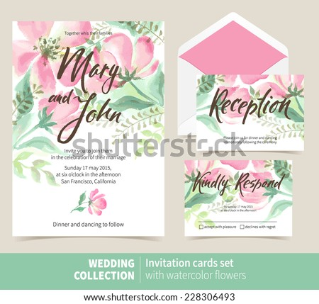 Vector set of invitation cards with watercolor elements. Wedding collection - stock vector