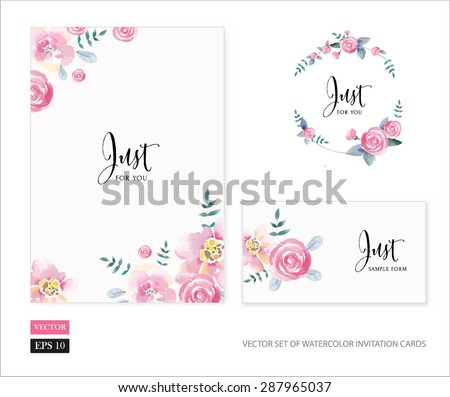 Vector set of invitation cards with watercolor flowers elements and calligraphic letters. Wedding collection - stock vector