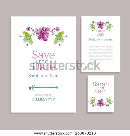 Vector set of invitation cards with watercolor flowers elements. Wedding collection - stock vector