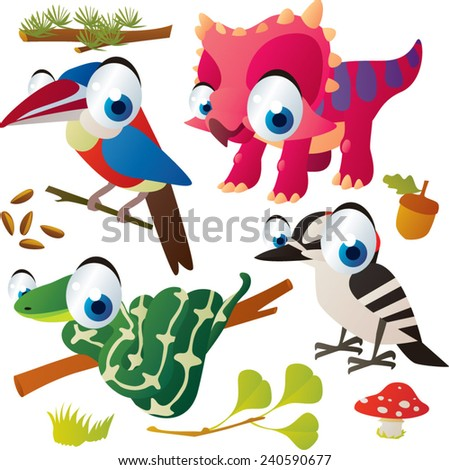 Vector set of isolated cute animals: arasari bird, triceratops, woodpecker, snake - stock vector