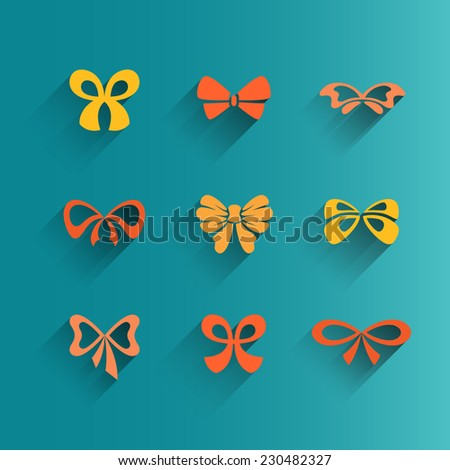Vector set of isolated flat design bows, isolated, colorful, with shadows, editable - stock vector