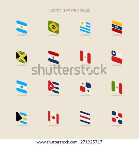 Vector set of isometric flags of Argentina, Brazil, Uruguay, Venezuela, Jamaica, Paraguay, Peru, Chile, Cuba, Bahamas, Salvador, Dominican Republic, Costa Rica, Mexico, Canada and Panama  - stock vector
