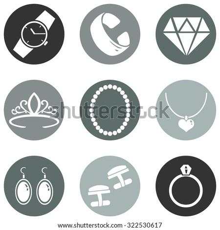 Vector Set of Jewellery Icons - stock vector