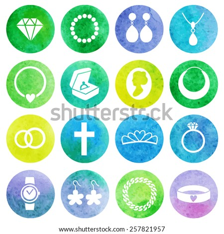 Vector Set of Jewelry watercolor Icons. - stock vector