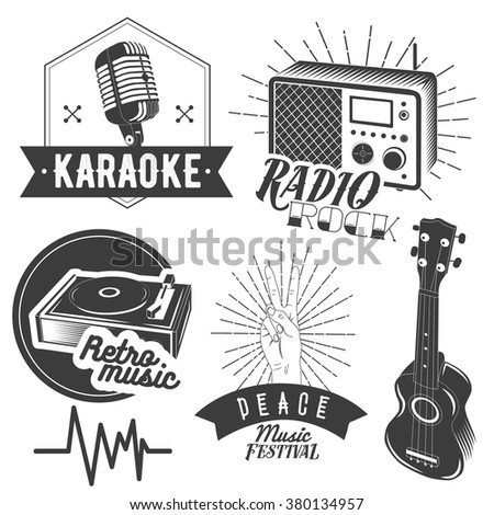 Vector set of karaoke and music labels in vintage style. Guitar, microphone, gramophone, radio receiver isolated on white background. Design elements, emblems, badges, logo and icons. - stock vector