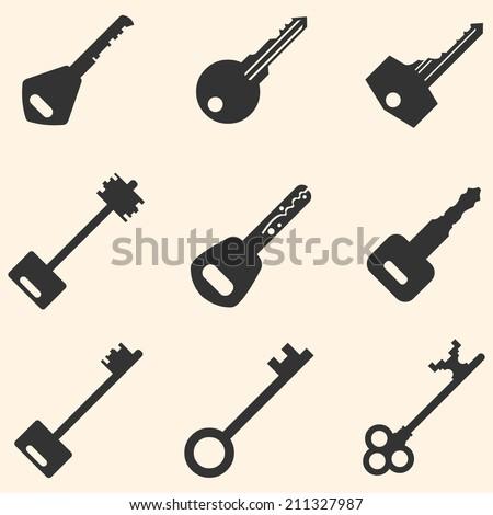 Vector Set of Keys Icons. Modern and Antique Keys. Types of Keys - stock vector