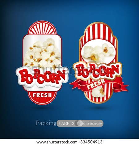 Vector set of label for popcorn - stock vector