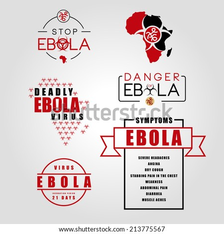 Vector set of labels badges of the deadly ebola virus in africa