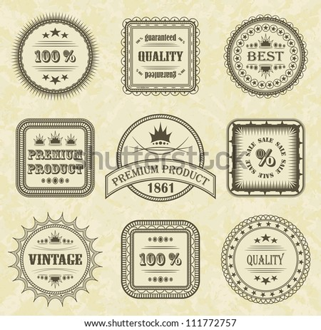Vector set of labels with grunge background - stock vector