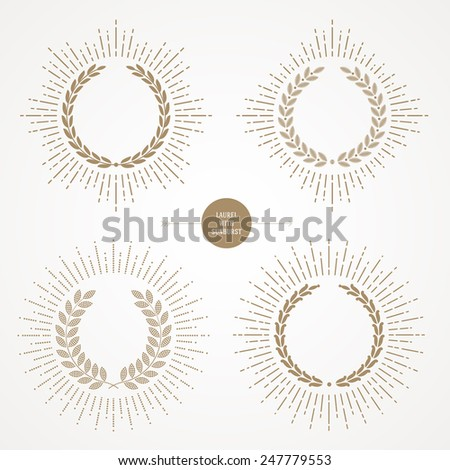 Vector set of laurel wreath with sunburst line rays - stock vector