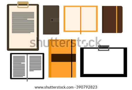 Vector set of leather notebooks and clipboards. Office accessories, stationery - stock vector