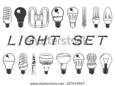 Vector set of light bulbs isolated on white background. Illustration in vintage style. Icons and design elements collection. - stock vector