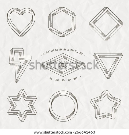 Vector set of line art tattoo style impossible shapes on a crumpled paper background - stock vector