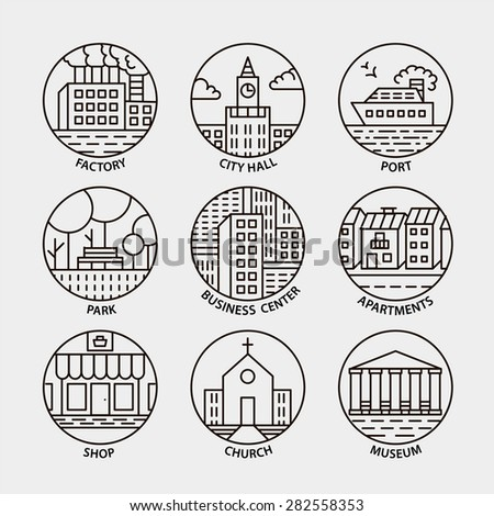 Vector set of line city circle icons. Port, shop, city hall, business center, museum, park, apartments, factory, church - stock vector