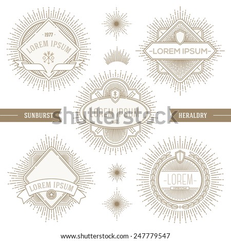 Vector set of line heraldic emblems and  labels with sunburst rays - stock vector