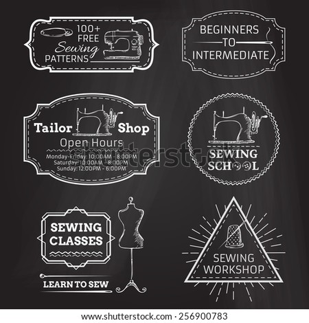 Vector set of linear chalk badges, labels, logo templates and frames. Retro simple sewing and fashion design elements. There is place for your text. - stock vector