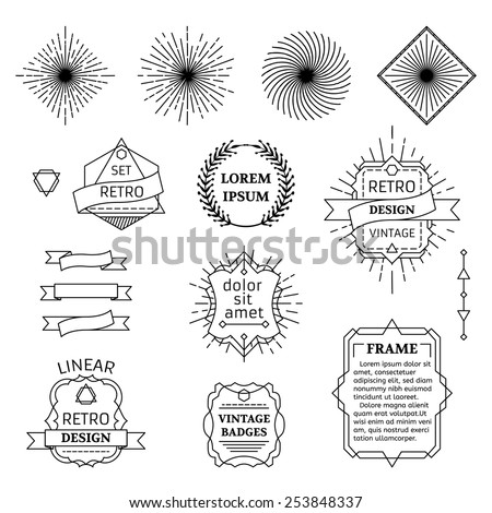Vector set of linear design elements. Retro badges, ribbons, labels, frames and wreath isolated on white background. - stock vector