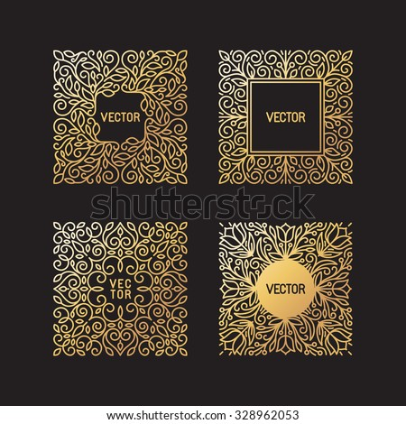 Vector set of linear frames and floral backgrounds with copy space for text - abstract labels for packaging and stationery in vintage hipster style - in golden style on black background - stock vector