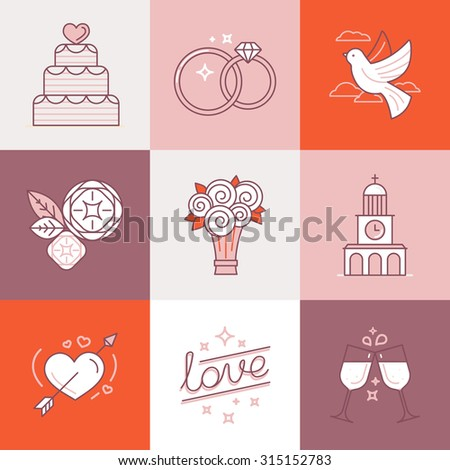 Vector set of linear icons and illustrations related to love, wedding, valentine's day and marriage - collection of signs and design elements for wedding invitations - stock vector