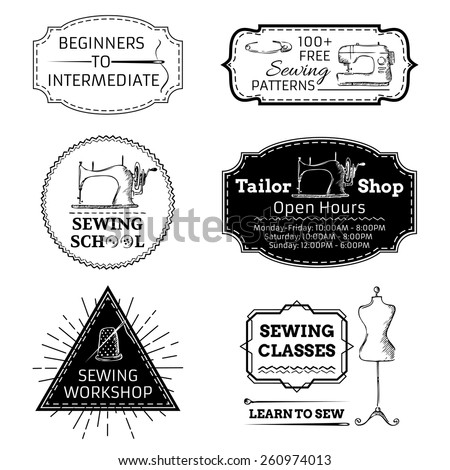Vector set of linear sewing and fashion design elements isolated on white background. Retro badges, labels, logo templates and frames. - stock vector