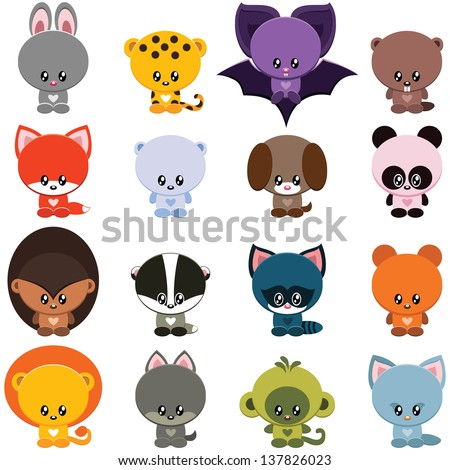 Vector set of little cute animals - stock vector